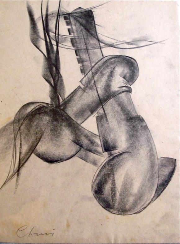 Fusain sur papier, probablement le plus ancien (vers 1920) de quatre dessins non figuratifs. donation au M.A.M.V.P.